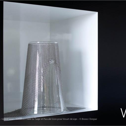 Verre Vs Cote de maille – Grand vase – Création Claire Le Sage et Pascale Lion pour Verart design – © Bruno Clergue